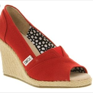 Toms Women's Red Peep Toe Espadrille Wedges - 9.5